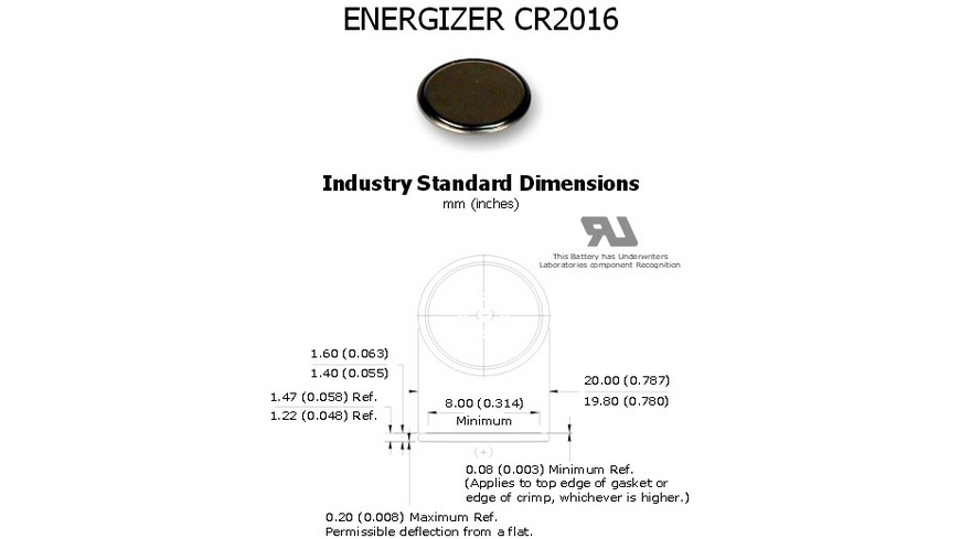 Energizer - CR2016 Knopfzellen 2 Stueck - Batterien Akkus