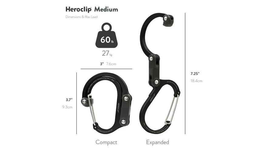 Heroclip - Karabiner mit Clip und Drehhaken Mittel - Taschen Koffer Zubehoer